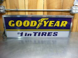Working Original Vintage Lighted Double Sided Goodyear Sign