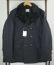 Nwt 895 Billy Reid Italy Size Large Black Wool Bond Peacoat Removable Fur Mens
