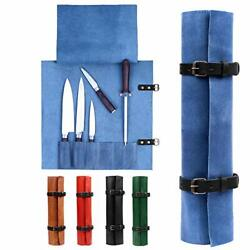 Karasto Leather Knife Roll Bag Portable Travel Tool Case Chef Knifes Cutlery ...