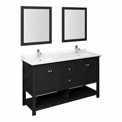Fresca Manchester 60 Double Sinks Wood Bathroom Vanity With Mirrors In Black