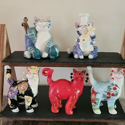Amy Lacombe Annaco Creations Cat Figurines - Lot Of 5