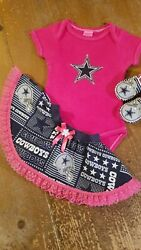 Dallas Cowboys Baby Girl 3 Piece Tailgating Outfit 3-6 Months Skirt Baby Girl