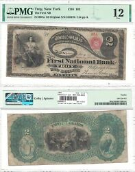 1865 2 First National Bank Of Troy Ny 163 Pmg Fine-12