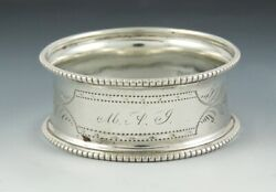 Antique American Coin Silver Engraved Machine Turnings Napkin Ring