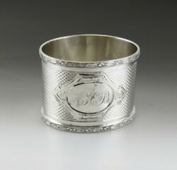 Antique C1870 Machine Turnings American Coin Silver Napkin Ring