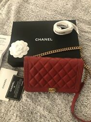 Red Caviar Leather Boy Wallet On Chain Bag - Gold Hw-authentic W/receipt