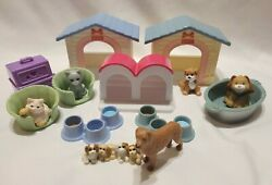 15 Pc LOT FISHER PRICE Loving Family Dollhouse Pet Tub Dog Cat Houses Beds