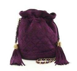 Cc Coco Drawstring Chain Shoulder Bag Suede Purple Leather Used