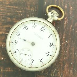 Antique 18 Size Illinois 17 Jewel Manual Wind Pocket Watch Grade 69 For Parts