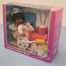 Vintage Jamie And Baby Bear Black Doll In Pull Toy Train Lovee Co 1986 A29