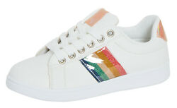 Womens Rainbow Stripe White Trainers Ladies Glitter Pumps Lace Up Sports Shoes