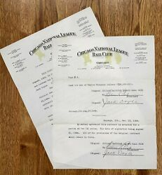 1923 Cubs Contract Signed Jack Doyle D.1959 W William Veeck D.1933 Twice