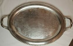 Vintage Silver-plated Serving Tray Etched Handled Rogers And Bro. 1781 21 Long