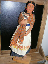 Native Indian Doll 16 In Traditional Dress Navajo Ooak Antique Vtg Glass Eyes