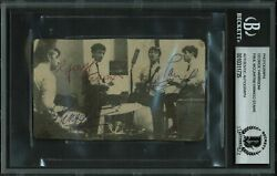 The Beatles 3 Harrison Mccartney And Starr Signed 2.65x4.5 Photo Bas Slabbed