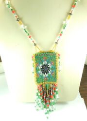 Statement Beaded Seed Bead Medicine Pouch Necklace Handcrafted