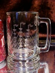 4 Heavy Glass Mugs Engraved Schooner/tall Ship Paperweight Base Won't Turn Over