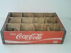 1975 Red Wooden Coca-cola Coke Soda Crate 32oz Bottles W/ Dividers Holds 12