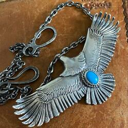 Goro's Men's Necklace Pendant With Chain Set Eagle Turquoise Free Shipping Japan