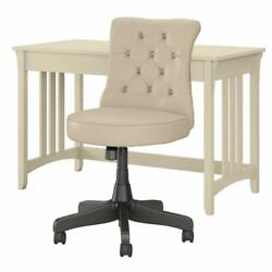 Salinas 48w Writing Desk With Mid Back Chair In Antique White - Engineered Wood