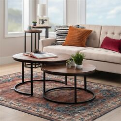 Powell Mina Wood And Metal Nesting Coffee Tables In Black And Brown