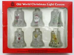 Old World Christmas Bell Light Covers Set Of 6 In Original Box Rare Glass