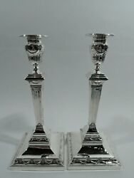 George V Candlesticks - Antique Classical Pillar Pair - English Sterling Silver