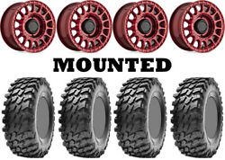 Kit 4 Maxxis Rampage Tires 32x10-15 On Black Rhino Sandstorm Red Narrow Can