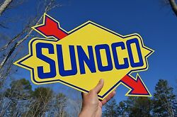 Old Style 18 Sunoco Motor Oil Diecut Arrow Thick Steel Sign Made In Usa