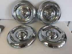 Nos Set Of 4 Hubcaps Unusual Dogdish 1940and039s And 1950and039s Packard Oldsmobile Buick