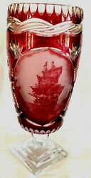 """Cranberry 16"""" Cut-to-clear Crystal Vase. Etched Galleon Ship Scene.pedestal."""