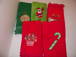 Lot Of 5 Vintage Cannon Christmas Theme Hand Towels Santa Candy Cane Ornament