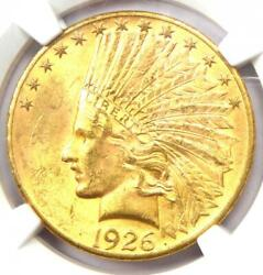 1926 Indian Gold Eagle 10 Coin - Certified Ngc Ms63 Bu Unc - Rare Coin