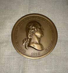 George Washington Peace And Friendship Bronze 3andrdquo Diameter Medal W/ Box And Paper