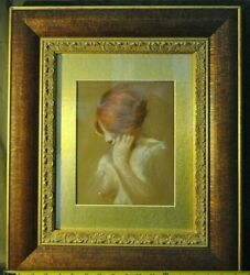 Antique John Whitworth Robson Original Pastel Red Head Partial Nude Framed