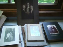 Antique Lot Black And White Cabinet Portrait Photo Craft Photographs Geneology Old