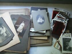 Antique Lot Cabinet Black And White Portrait Photo Craft Photographs Geneology Old