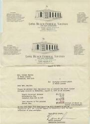 Long Island Federal Savings Letters Certificate Satisfaction And Account Book 1950