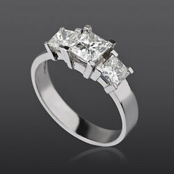 Diamond Ring 3 Stones Triple 14k White Gold 1.9 Carat Solitaire Side Accents