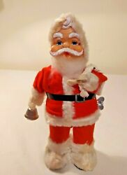 """Vintage Christmas Wind Up Santa Claus 10"""" Tall Rings Bell Antique Toys"""