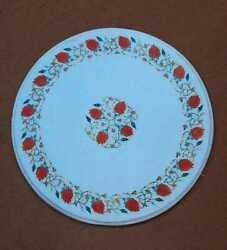 30 White Round Marble Table Top Coffee Inlay Lapis Antique Home Decor C7