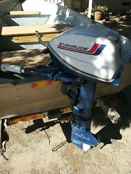 Evinrude 6 Hp Outboard Motor With Gas Tank And Brand New Fuel Line Kit.