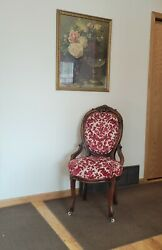 Antique Queen Anne Oval Back Carved Chair With Red And White Upholstery