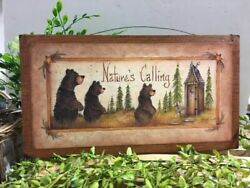 Natures Calling Bear Outhouse Bathroom Country Cabin Wooden Sign