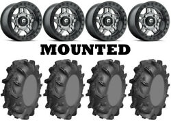 Kit 4 Ams Mud Evil Tires 28x10-14 On Fuel Anza Beadlock Gray D918 Wheels Can