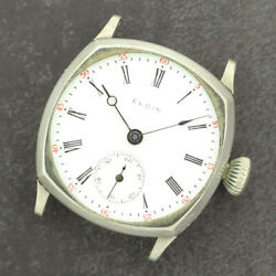 Antique 0 Size Elgin Manual Wind Menand039s Wristwatch Cushion Grade 320 For Repair
