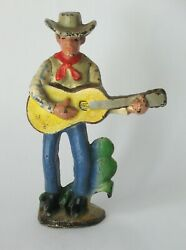 Vintage Cast Iron Cowboy With Guitar Figural Bottle Opener Americana Camp