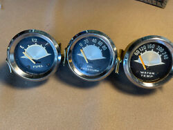 Vintage Aqua Meter Brass 2 Inch Cases, Fuel, Oil Psi, And Water Temp.