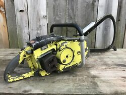 Used Vintage Pioneer 1560 Gear Drive Chainsaw Rare Bow Bar Full Wrap Good Spark