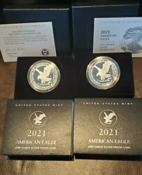 Two 2021 Proof Silver American Eagles-west Pt 21ean-san Francisco 21emn-photos